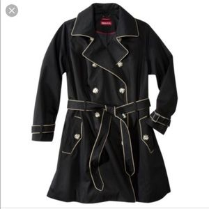 Merona Black Trench w/ Beige Piping